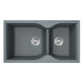 Silver grey granite composite double sinks for kitchen